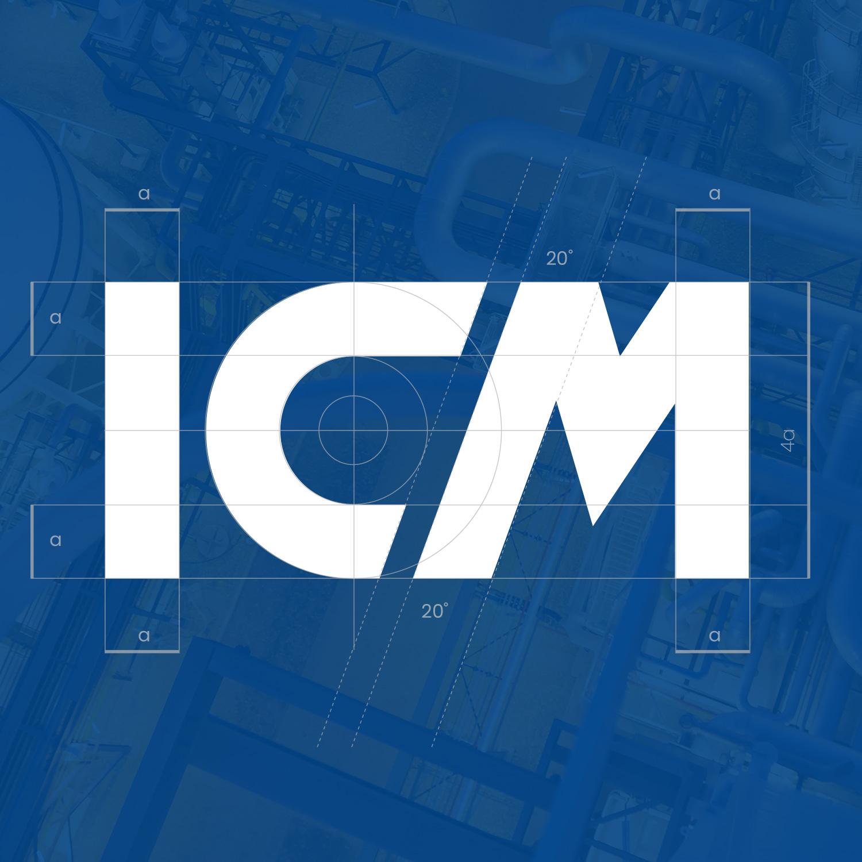 design costruzione logo Ital Control Meters su sfondo blu