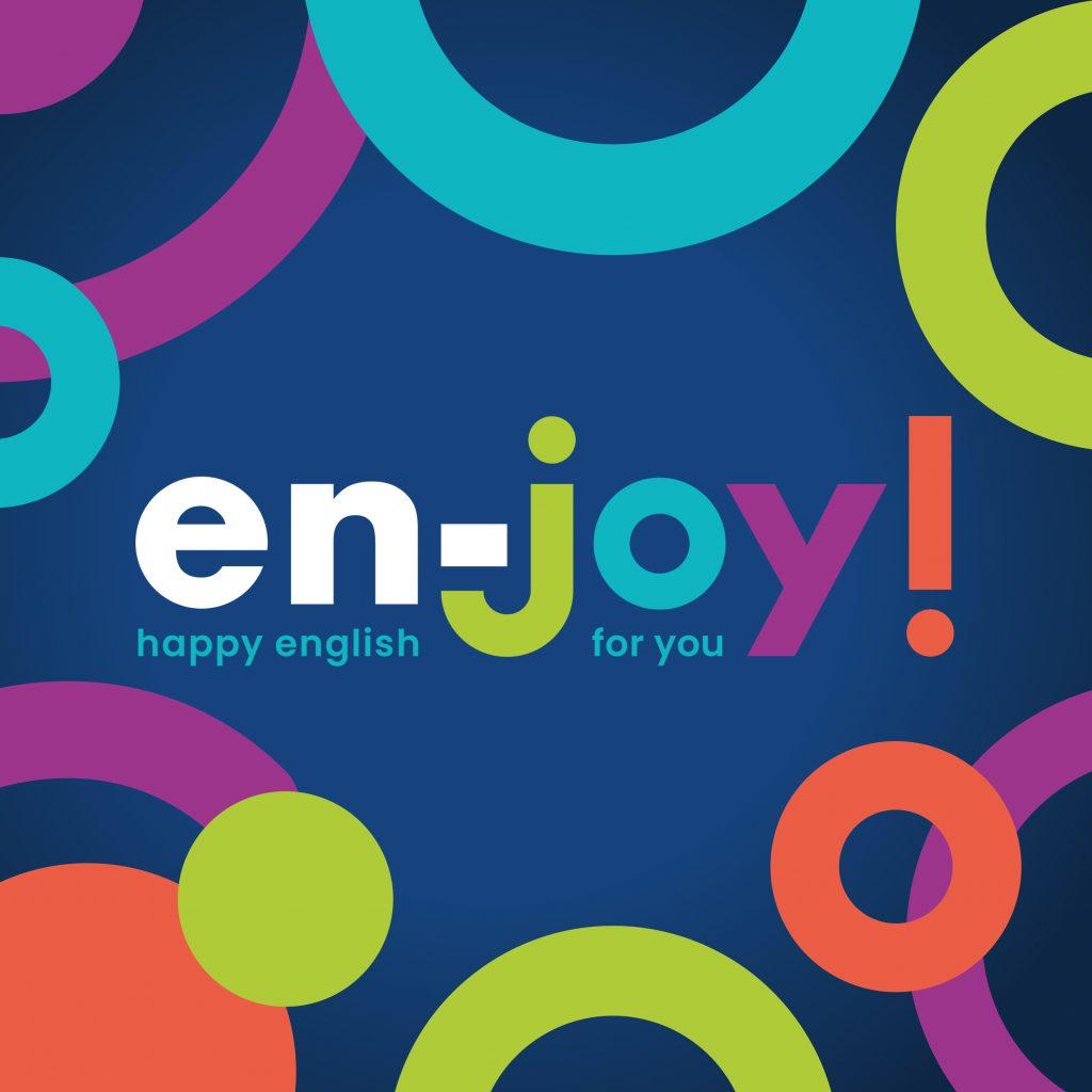 logo e grafica colorata di en-joy happy english for you
