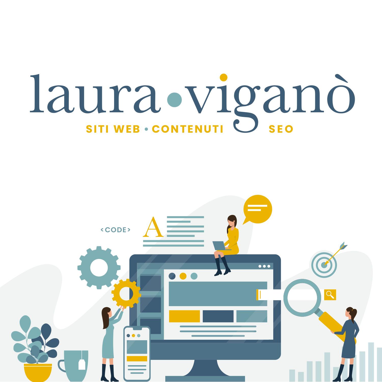 logo Laura Viganò Sitiecontenuti con disegno computer