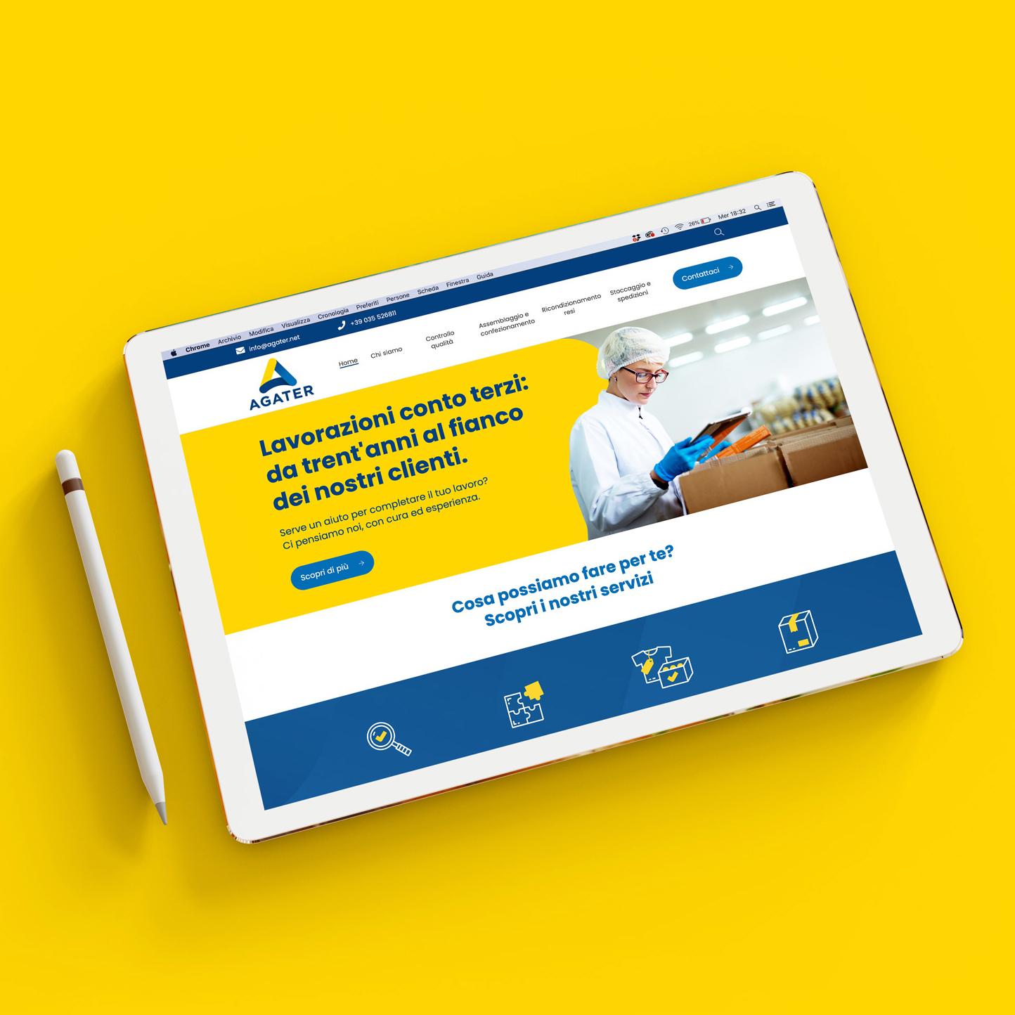 tablet che mostra il sito web agater