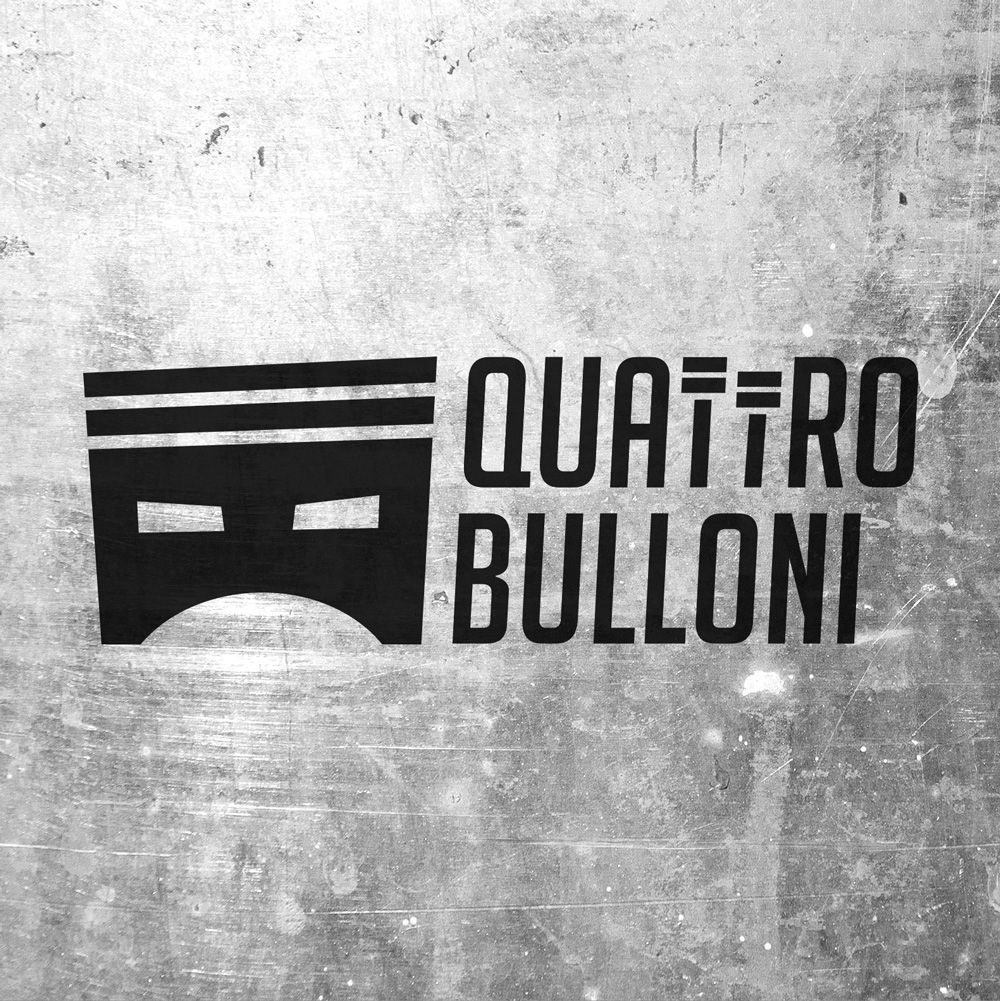 logo Quattrobulloni su sfondo metallo