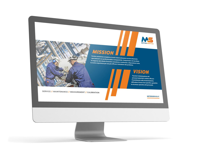 schermo che mostra la presentazione digitale Meterservice