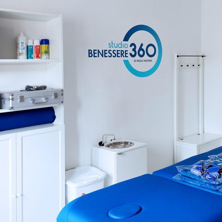 Studio Benessere360 con adesivo con logo al muro