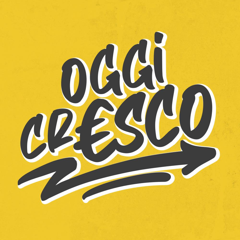 Logo iniziativa oggicresco su sfondo giallo