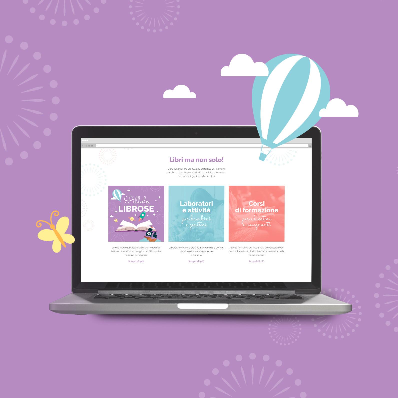 computer con sito web libreria Libri e Giochi su sfondo lilla e decori