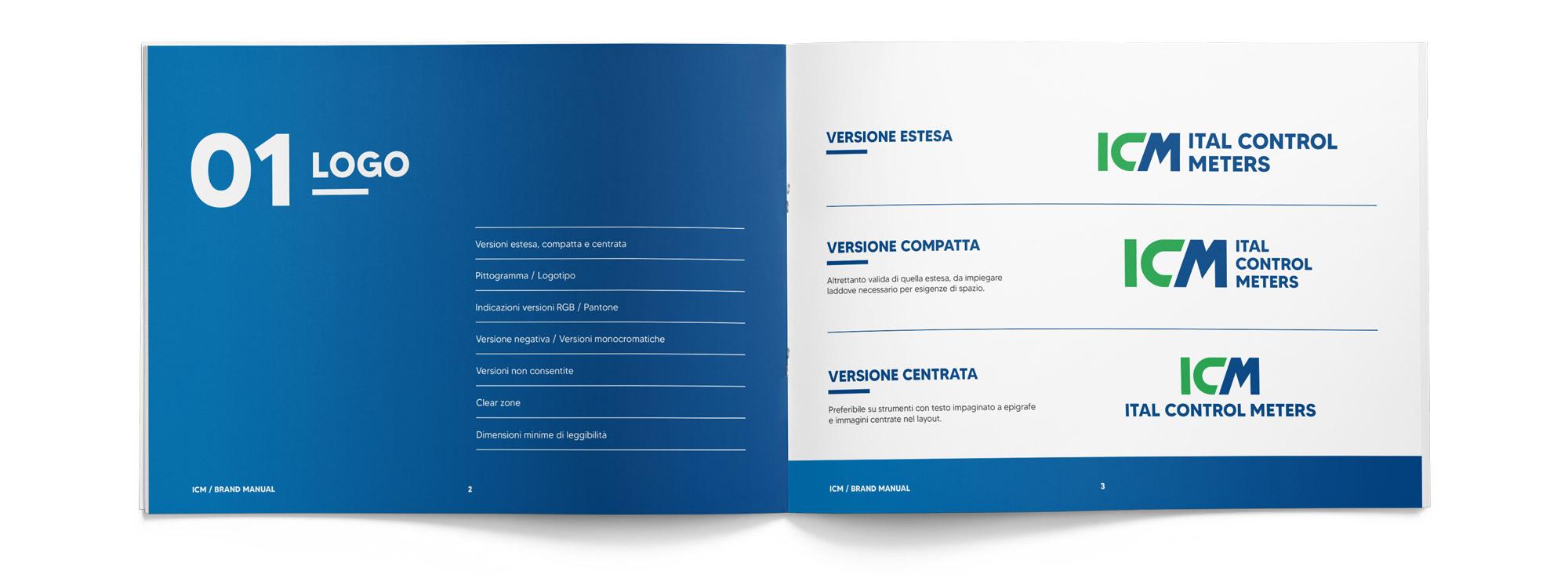 brand manual Ital Control Meters aperto visto dall'alto che mostra le versioni del logo