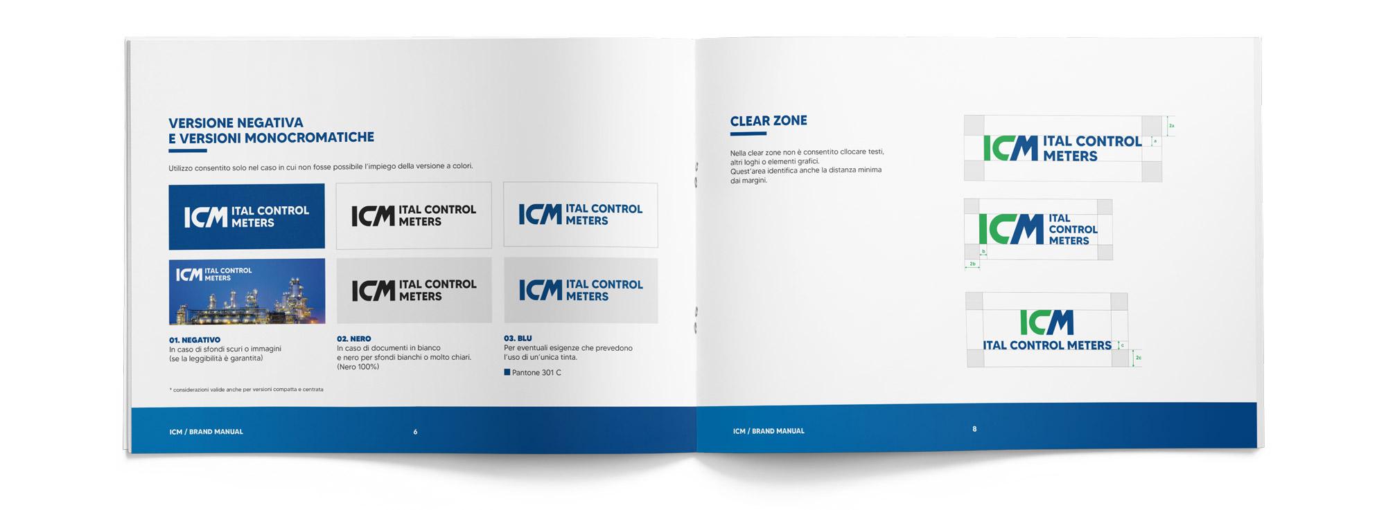 brand manual Ital Control Meters aperto visto dall'alto che mostra corretto uso del logo