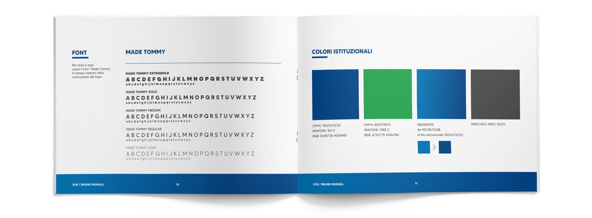brand manual Ital Control Meters aperto visto dall'alto che mostra font e colori