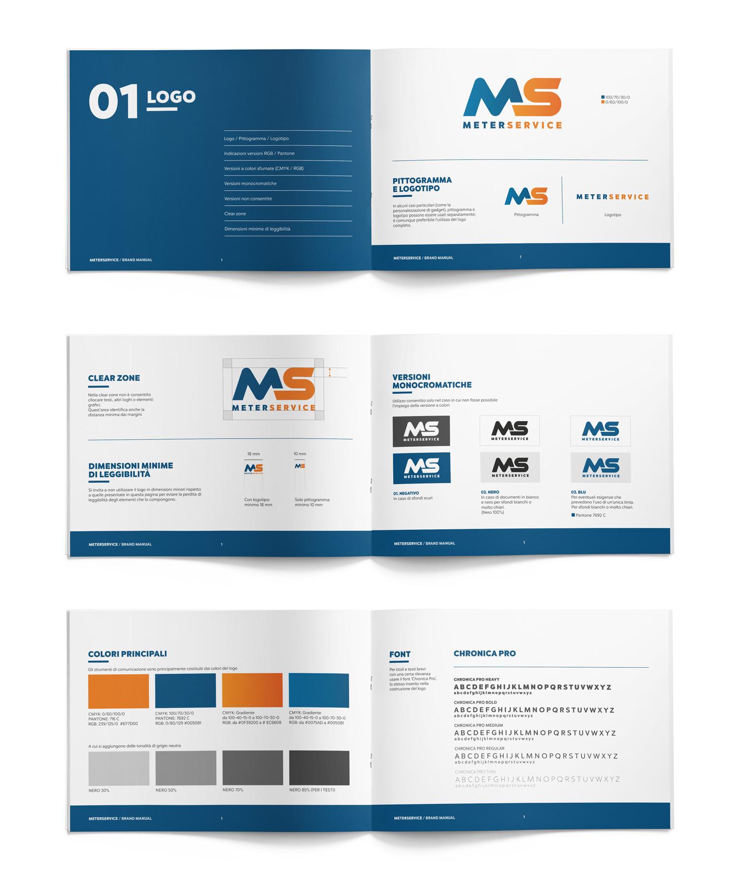brand manual Meterservice con logo, colori e font