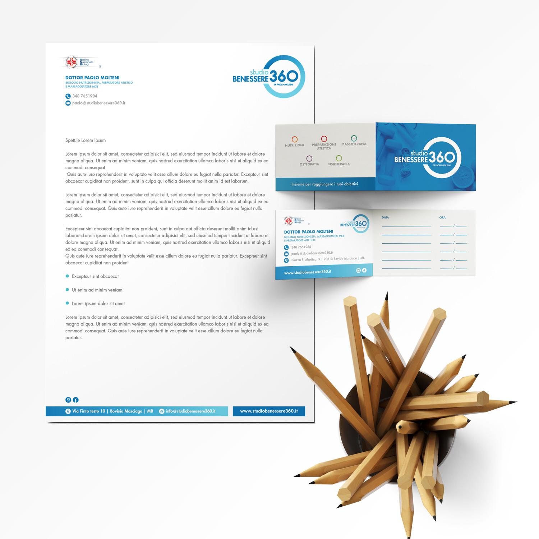 carta intestata e biglietto da visita Studio Benessere360
