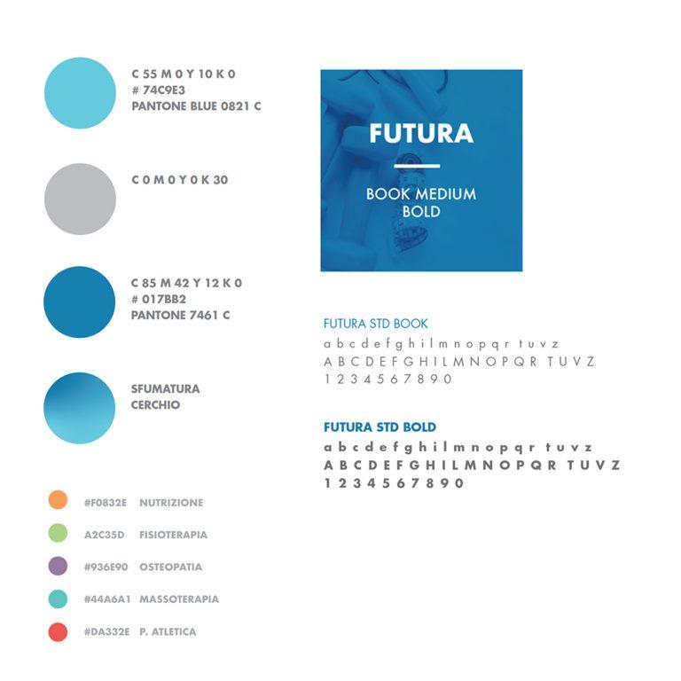 brand manual Studio Benessere360 con colori e font