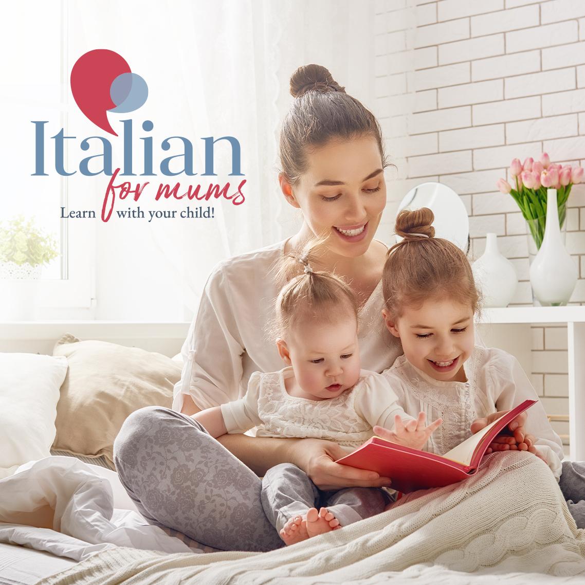 grafica con logo italianformums e foto mamma con due bambini piccoli