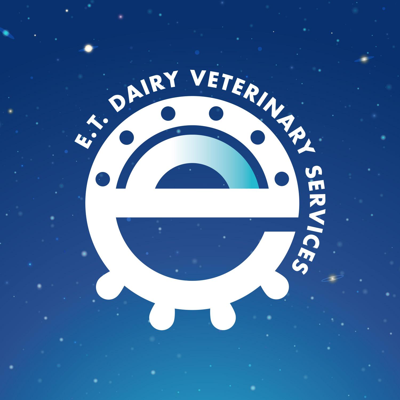 logo ET dairy veterinary service su sfondo blu