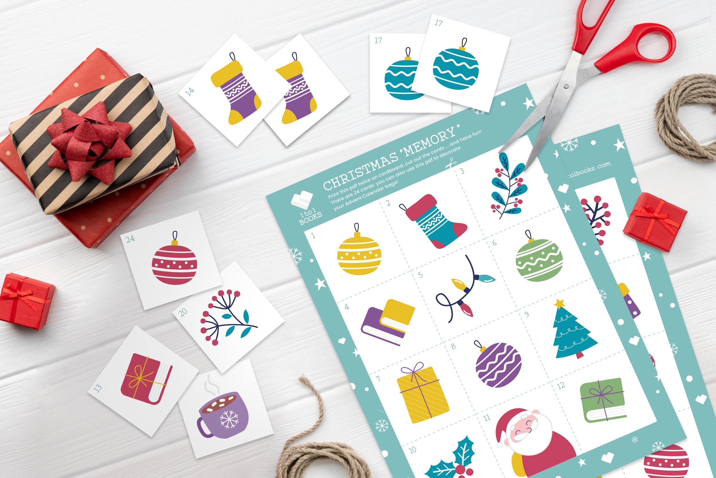 fogli ritagliati di un lavoretto Memory di Natale con grafica 1to1books