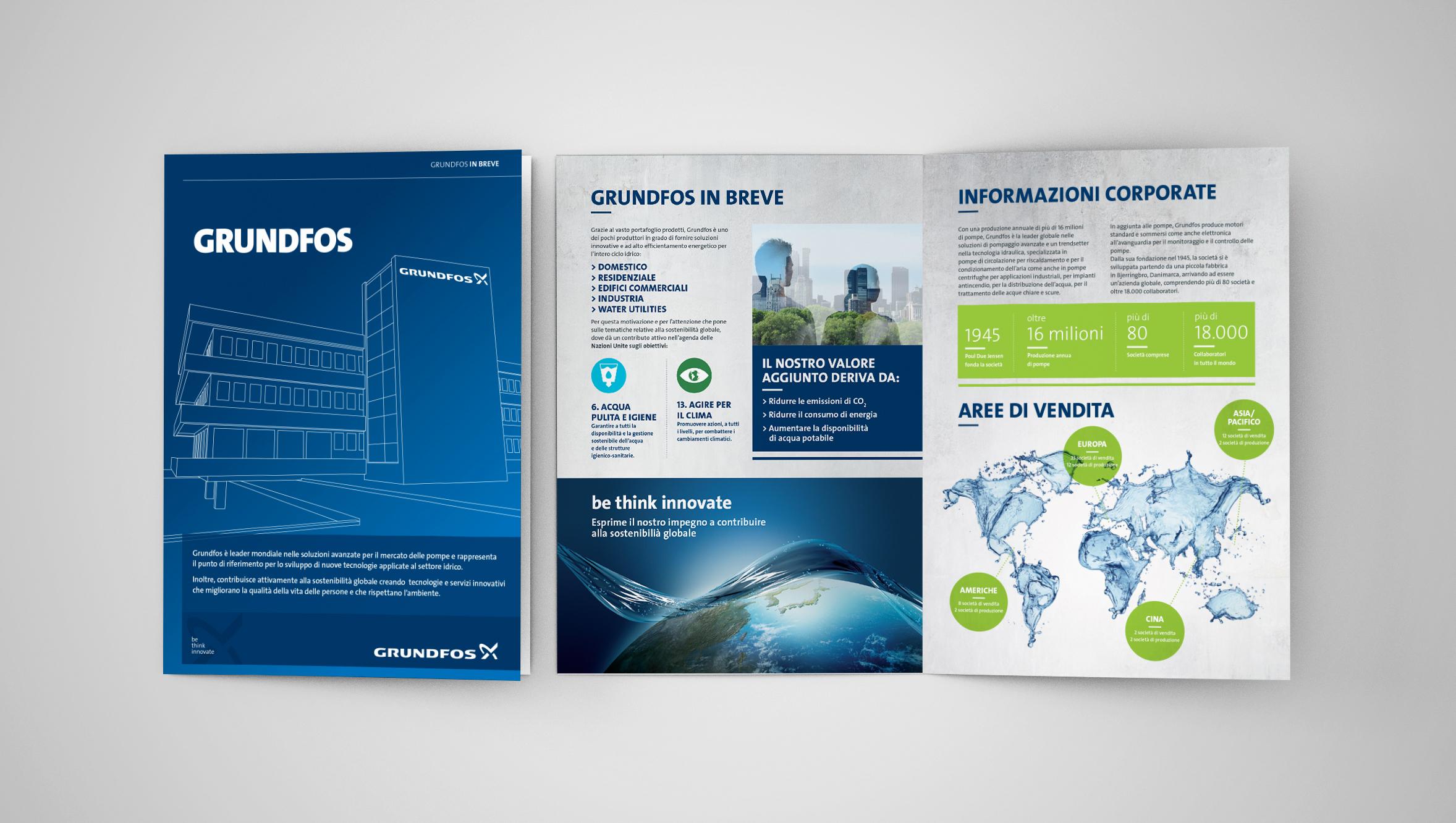 brochure istituzionale Grundfos, copertina e 2 facciate
