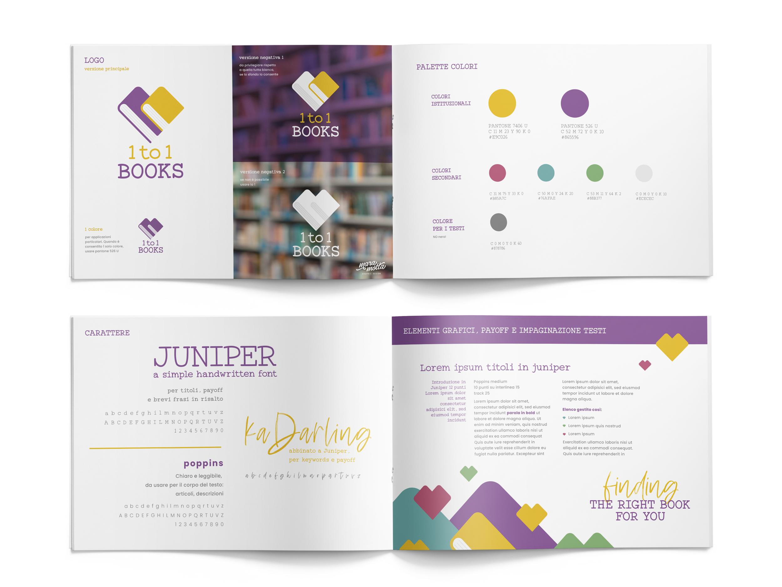 brand manual 1to1books aperto visto dall'alto