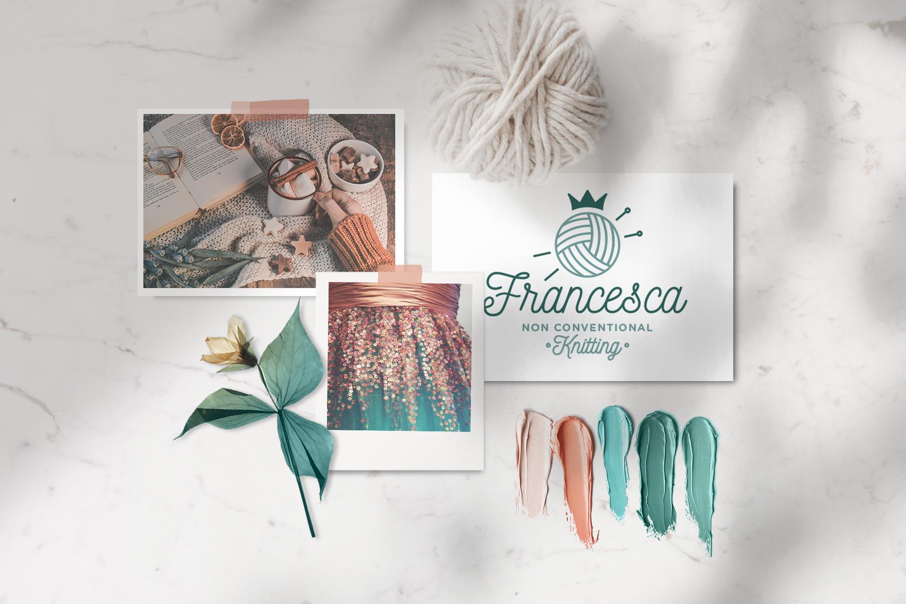 moodboard Francesca con foto fiore e gomitolo