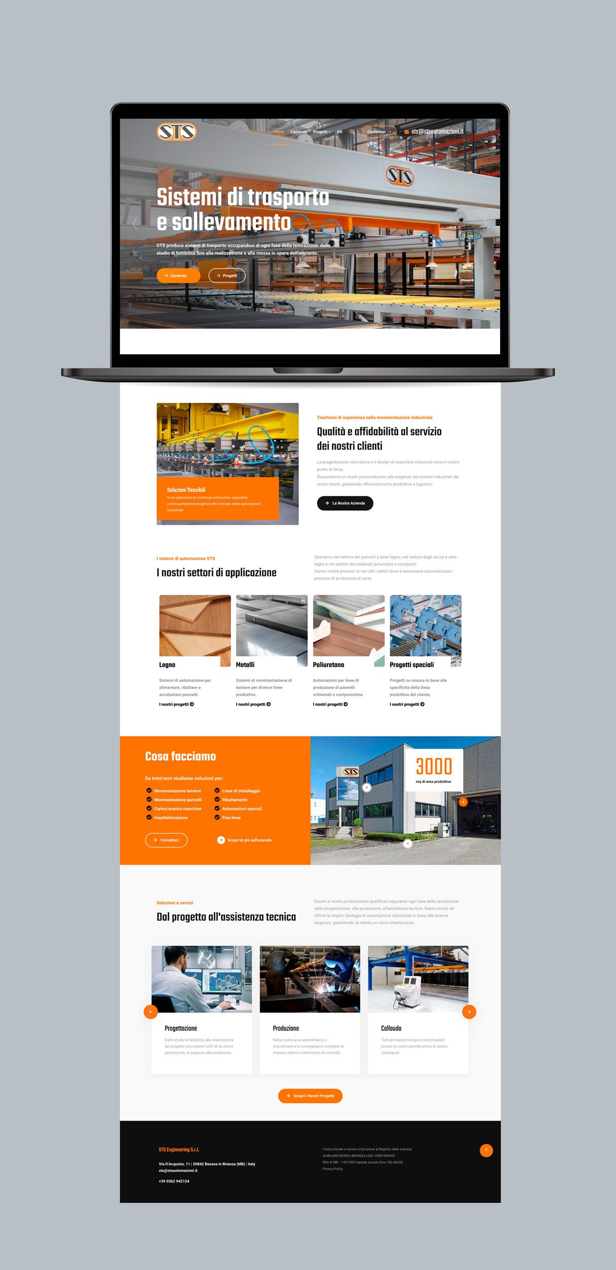 lapbook che visualizza il sito web di STS Engineering