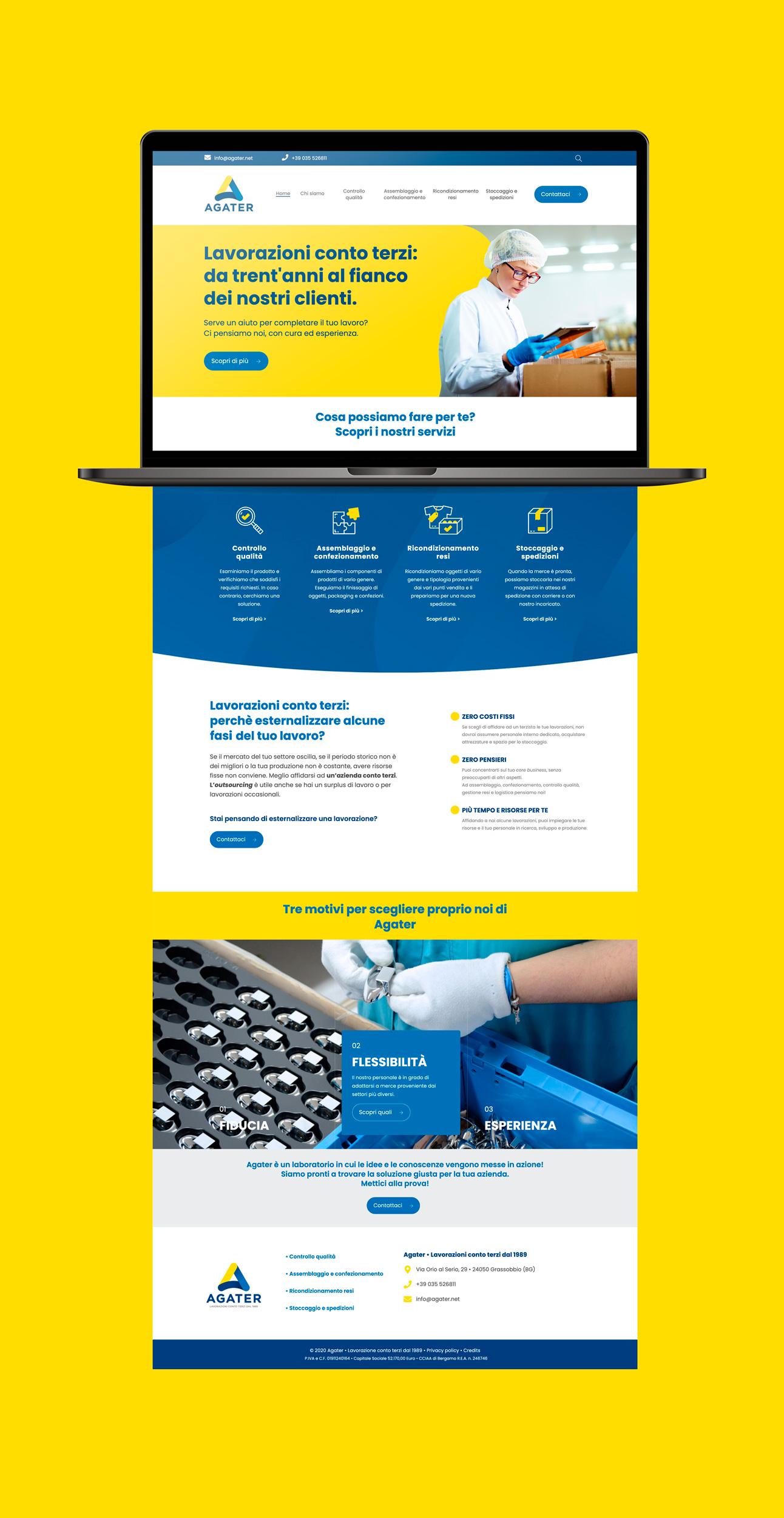 laptop che visualizza il sito di Agater