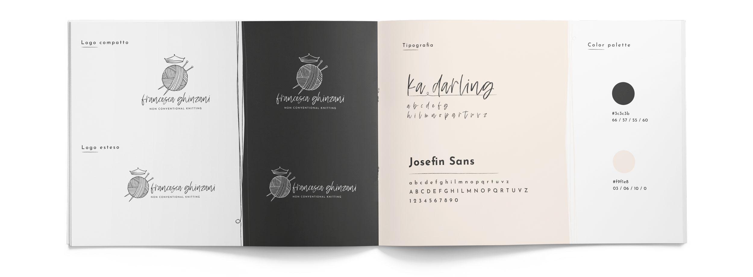 brand manual Francesca Ghinzani con logo font e palette colori